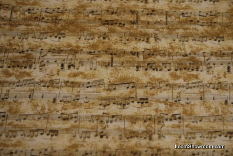 T323 Sheet Music Musical Notes Symphony Cotton Fabric Quilt Fabric Cream Color