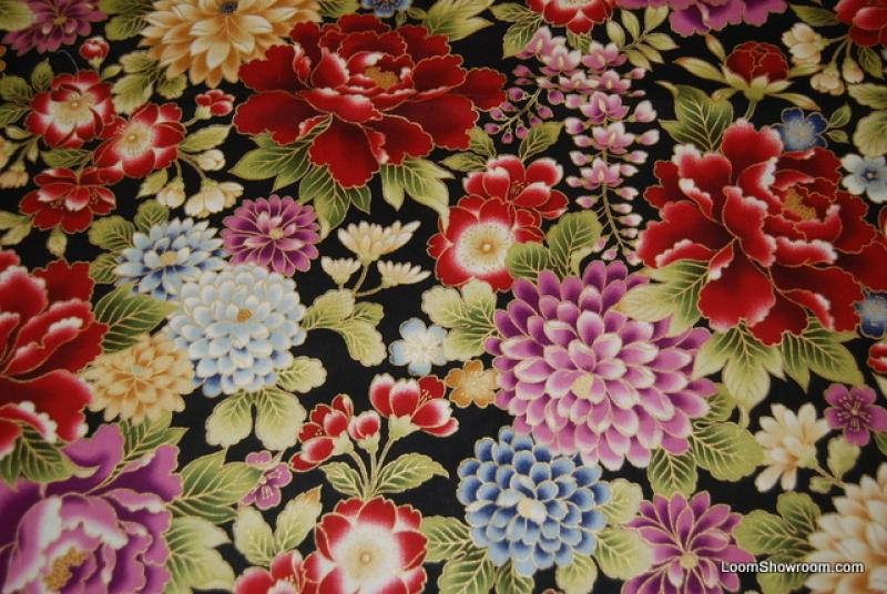 T326 Asian Japan Oriental Metallic Floral Quilt Fabric Cotton Fabric : oriental fabrics for quilting - Adamdwight.com