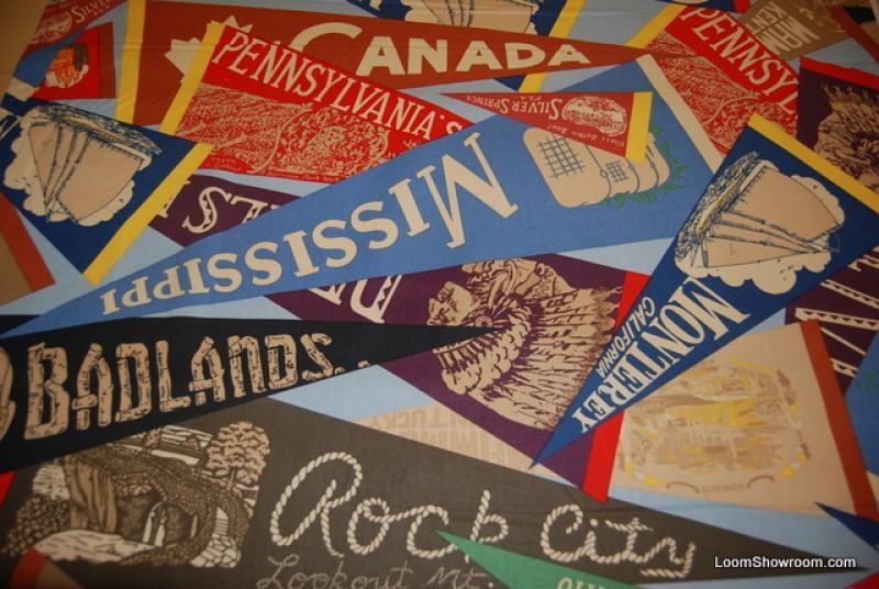T365 Vintage Travel Varsity Style Pennants Badlands USA Retro Vacation Souvenier Cotton Fabric Heavy Weight Drapery Fabric