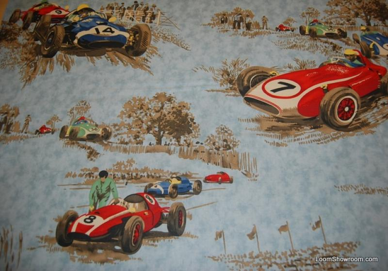 Race Car Vintage Grand Prix Race Day Cotton Fabric Heavy Weight Drapery Fabric WIDE T366
