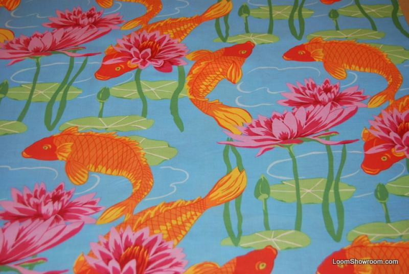 T372 Great Asian Koi Fish Water Lily Japan China Asia Orange Fish on Blue background Cotton fabric Quilt fabric