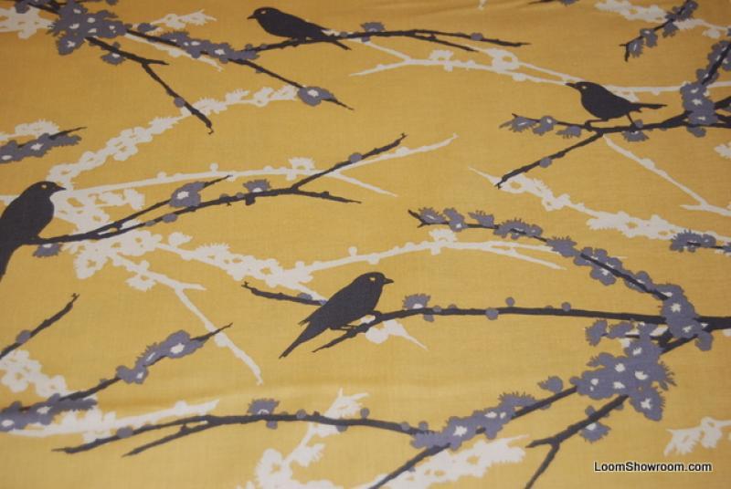 T377 Joel Dewberry Retro Modern Sparrows Bird Silhouettes Black ...