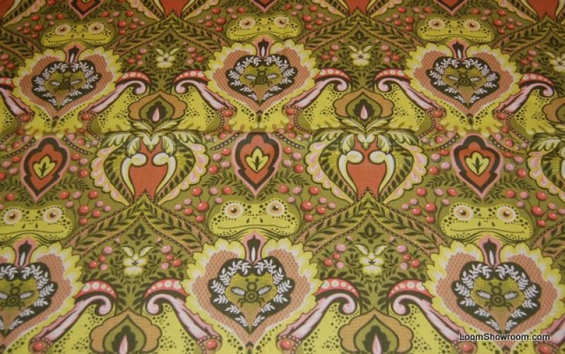 T381 Prince Charming Frog Damask Print Retro Extraordinary Green Tones Frog Face Cotton Fabric Quilt Fabric So Kissable!