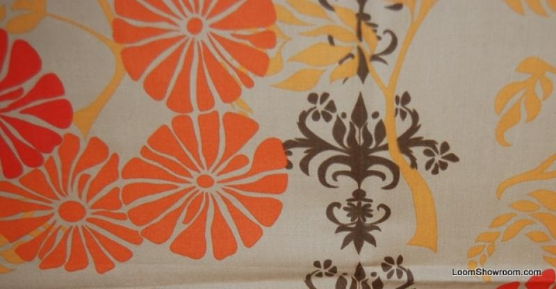 Bold Flower Floral Damask Print Cinnamon Cotton Fabric Quilt Fabric T50