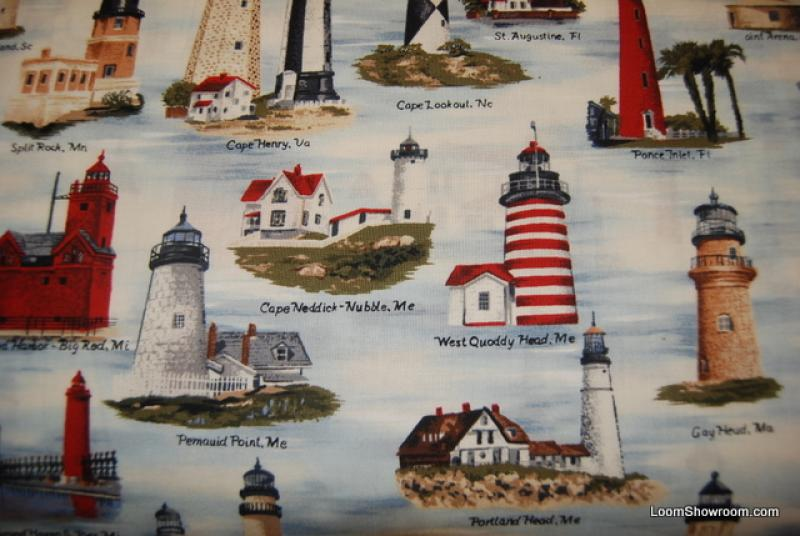 T62 Lighthouse Boat Ocean Sea Cotton Fabric Quilt Fabric