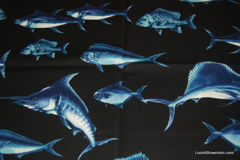Fishing Marlin Sailfish Dolphin Tuna Snapper Sea Bass Flounder Navy Ocean Saltwater Fish Cotton Fabric Quilt Fabric T64