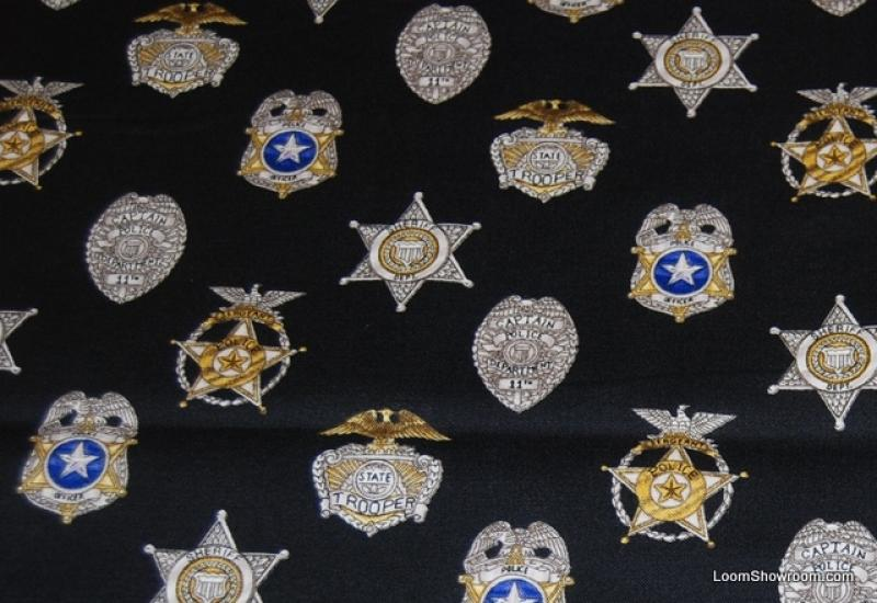 Police Policeman Emergency First Responder American Heroes Police Badges Cotton Fabric Quilt Fabric T67