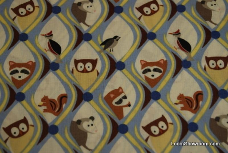 TZ106 Frolic Wendy Slotboom Cute Backyard Critters Squirrel Owl Chipmunk Sparrow Woodpecker Raccoon Opossum Cotton Fabric Quilt Fabric