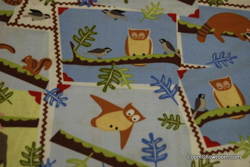 TZ107 Frolic Wendy Slotboom Cute Backyard Critters  In the Yard Trees - Playing - Squirrel Owl Chipmunk Sparrow Woodpecker Raccoon Opossum Cotton Fabric Quilt Fabric