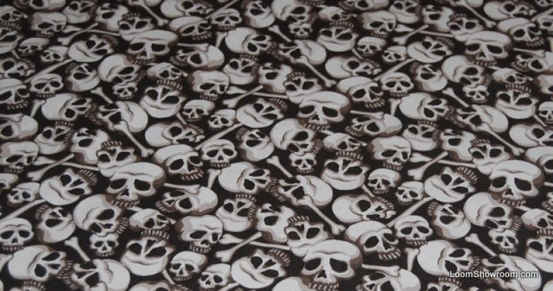 Skulls Bones Catacombs Skull Goth Outsider Art Pirate Bown Cotton fabric Quilt fabric W13