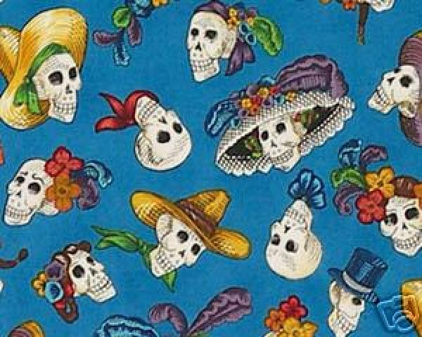 W17 Calaveras Dia de Los Muertos Day of the Dead Mexico Skull Jose Guadalupe Posada Cotton fabric Quilt fabric