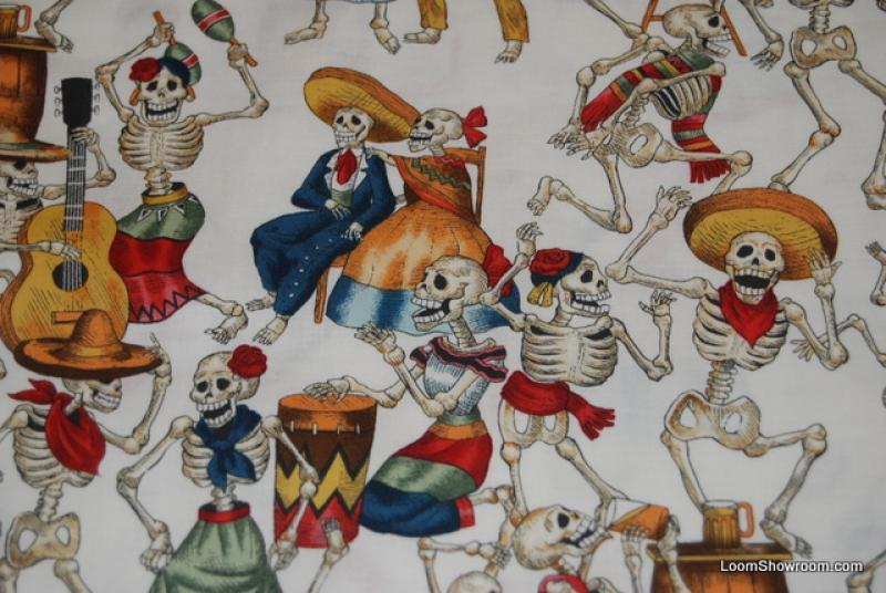 Fiesta De Los Muertos Jose Guadalupe Posada Mexico Day Of The Dead Cotton Fabric Quilt White Background AH159