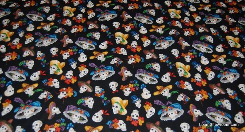 Calaveras Dia de Los Muertos Day of the Dead Mexico Skull Jose Guadalupe Posada Cotton fabric Quilt fabric W29
