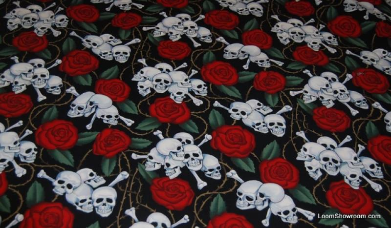 Skull Rose Tattoo Old Style Goth Biker Outsider Art Grateful Dead ... : tattoo quilt fabric - Adamdwight.com
