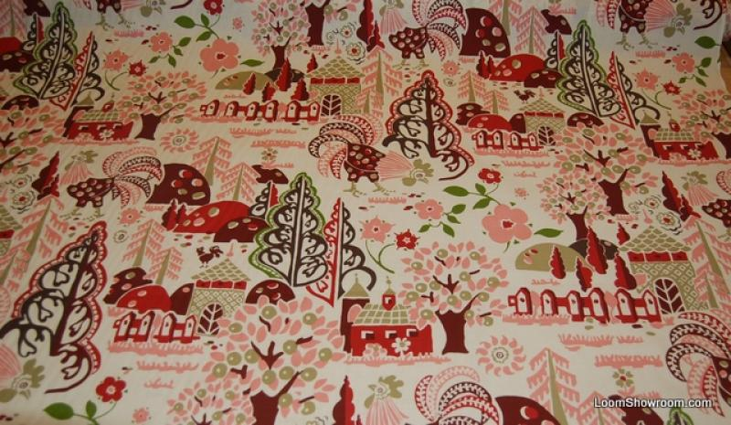 Granville Rooster Country French Folk Art Trees And Flowers Pink White Cotton Fabric Quilt W59