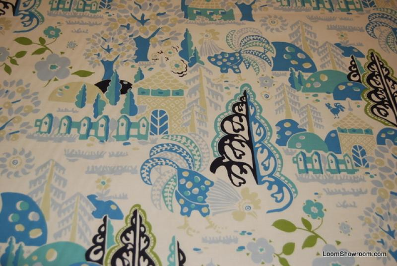 W60 Granville Roosters Country French Folk Art Trees and Flowers Houses Green Blue Cotton fabric Quilt fabric