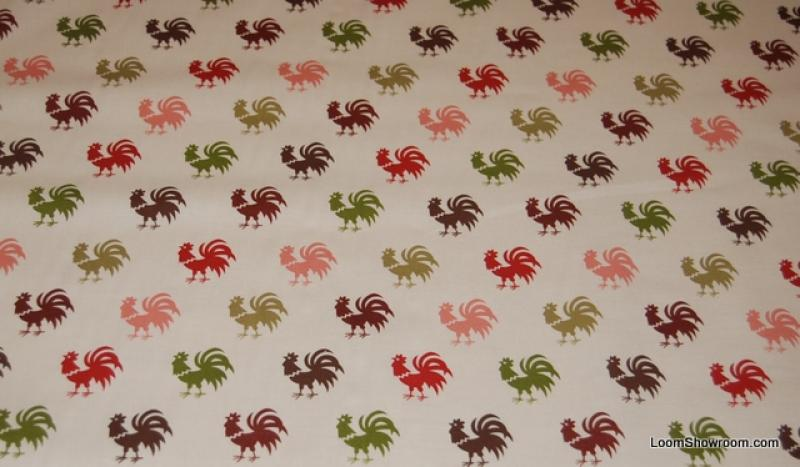 W61 Granville Country French Folk Art Rooster Small Pattern Green Brown Red Pink Cotton fabric Quilt fabric