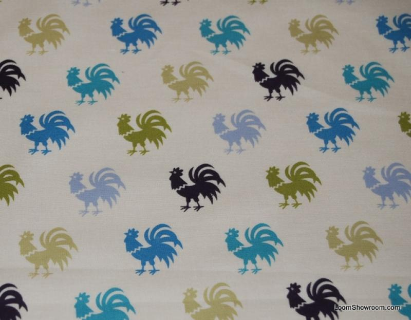 W62 Rooster Folk Art Pattern Small Green and Blue Cotton fabric Quilt fabric