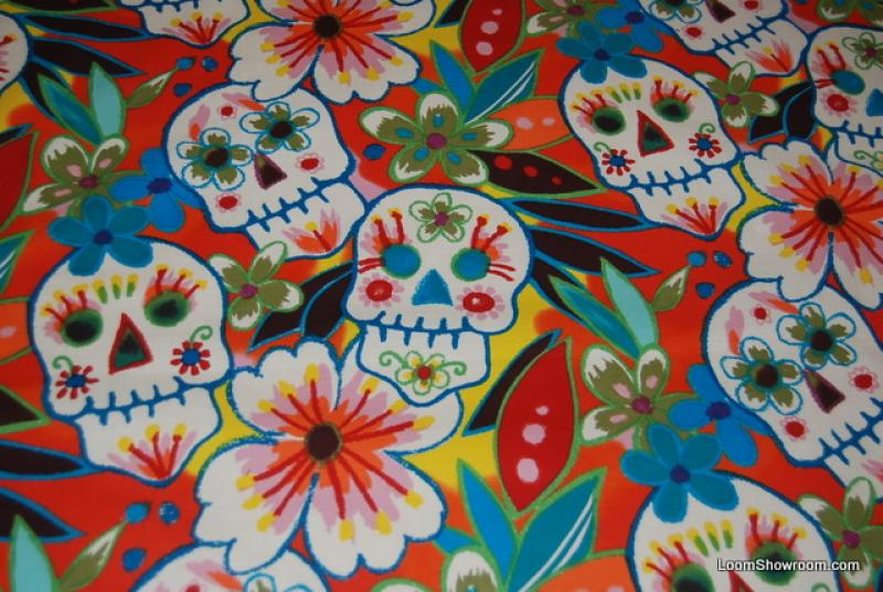 Dia de los Muertos Large Scale Day of the Dead Sugar Skull GLITTER Calaveras Cotton Quilt Fabric AH46 AHR46