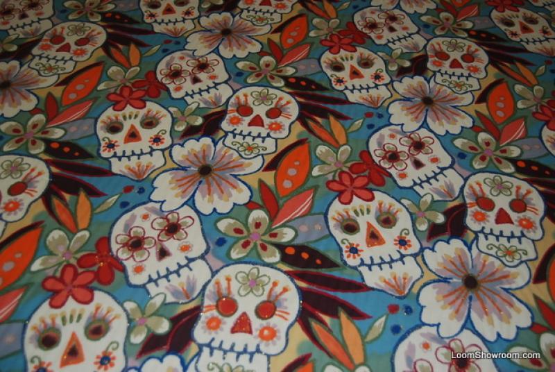 W72 Sugar Skull GLITTER Day of Dead Quilt Cotton Fabric
