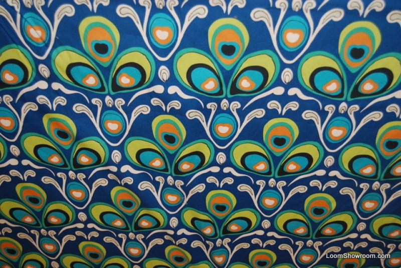 WA05 Rare Alexander Henry Peacock Feathers Design Pattern Bird Asia Blue and Green Cotton fabric Quilt fabric