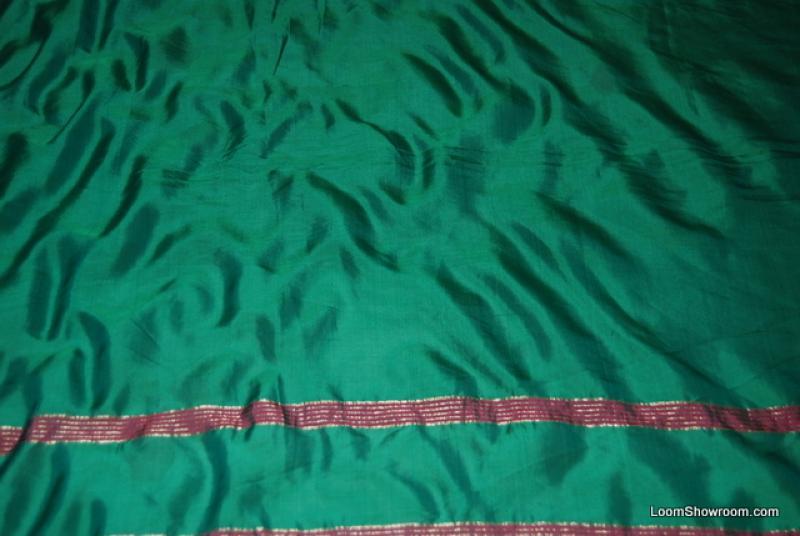 SARI Antique Sari India Dark Green Teal Fucshia Stripe Silk Sari WA08