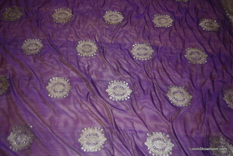 WA09 Antique Sari Purple Silk India Medallions Pattern Border Designs Vintage Silk Sari