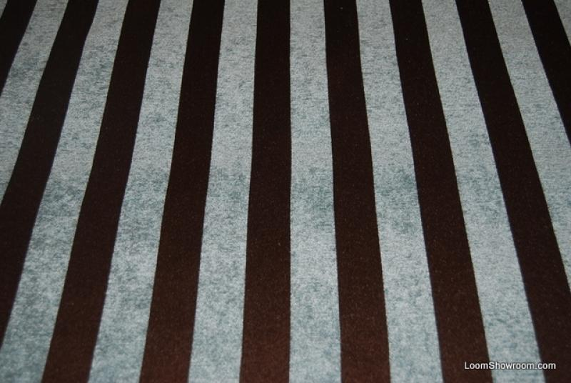 Wb146x Light Blue And Chocolate Brown Stripe Chenille Velvet Fabric