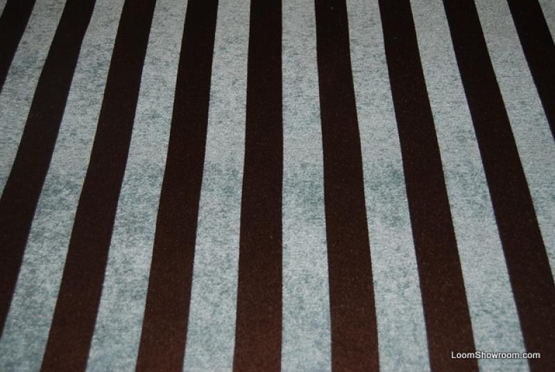 WB146X Light Blue and Chocolate Brown Stripe Chenille Velvet ...