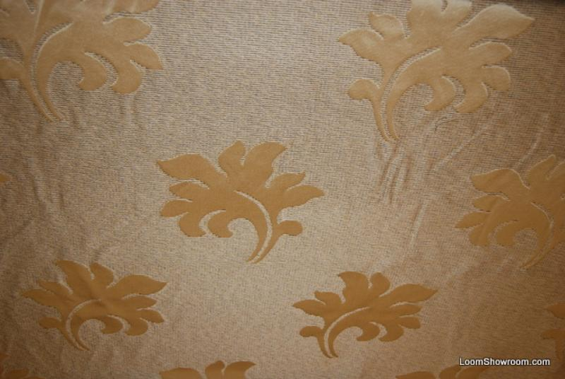 Stroheim and Romann VERY HEAVY SILK Damask Brocade Acanthus Leaf Light Gold Bronze Leaves Silk Fabric Drapery Fabric Upholstery Fabric WB149 CLOSEOUT