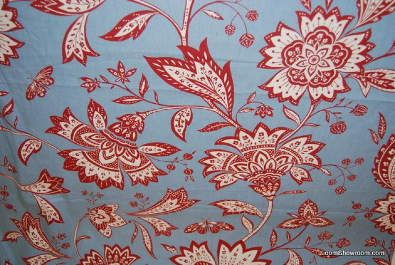 Wb31 Bold Block Print Style Red And White Flowers Branches Leaves On Sky Blue Background Cotton Fabric Drapery