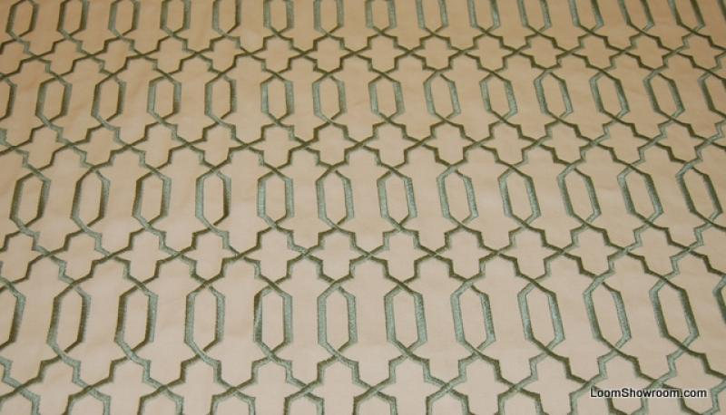 OSWB34 Modern Robin Egg Blue Embroidered Lattice Fretwork Pattern on Ivory Background of Heavy Weight Cotton Fabric