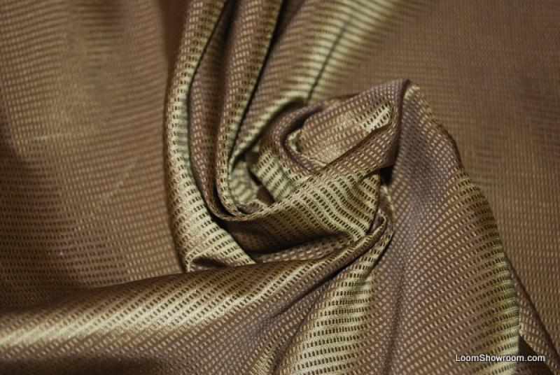 WB59 Stroheim & Romann Genova Silk Textured Stripe Olive Bronze and Green Stripe Silk Fabric Drapery Fabric