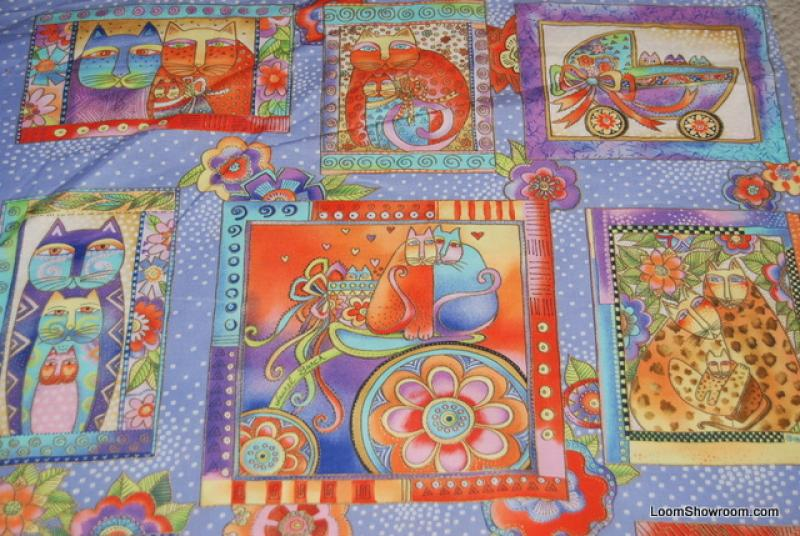 Laurel Burch Cat Kitten Vignettes and Portraits Panel Cotton fabric Quilt fabric WG02 Fanciful Felines