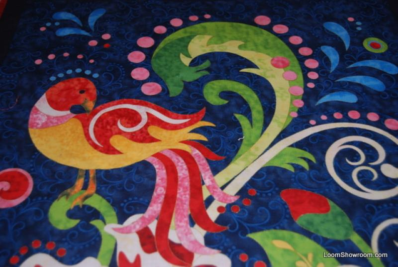 WG17 Peacock Bird Folk Art Bliss by Jane Spoler Flowers Plants Graphic Panel Cotton Fabric Quilt Fabric