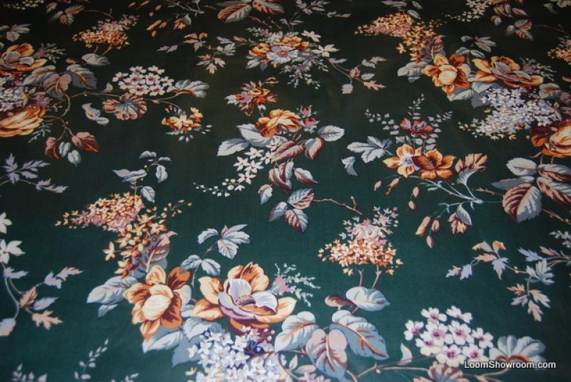 Z108 Vintage Glazed Chintz Flowers Leaves Dark Forest Green Floral