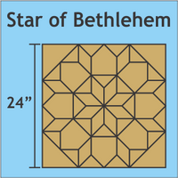 Acrylic Template: 24 Star of Bethlehem with 1/4 Seam Allowance (4 Piece Set)