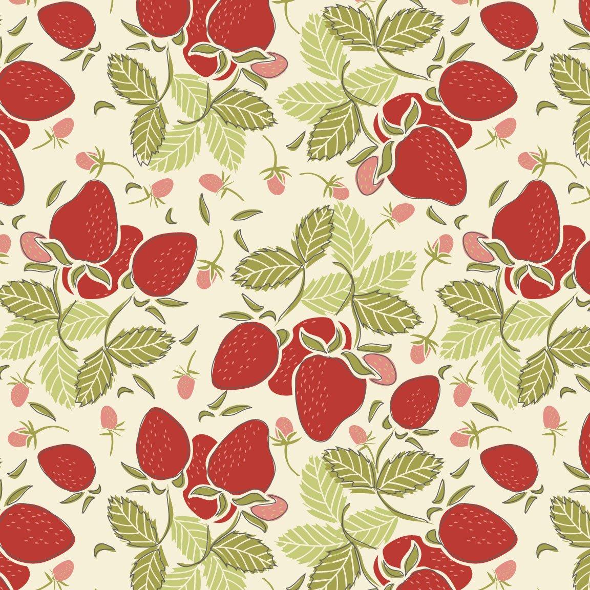 Vintage Berries Big Strawberries on Cream 16101-1CR