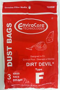 Dirt Devil Type F Vacuum Bags - 3 pack