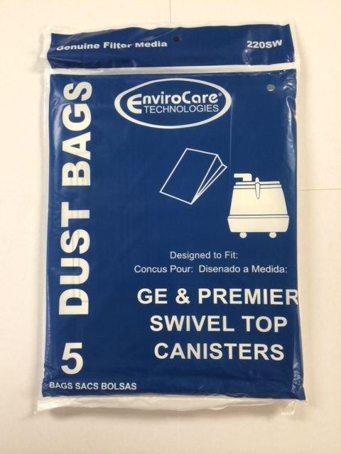 GE & Premier Swivel Top Canister Vacuum Bags - 5 pack