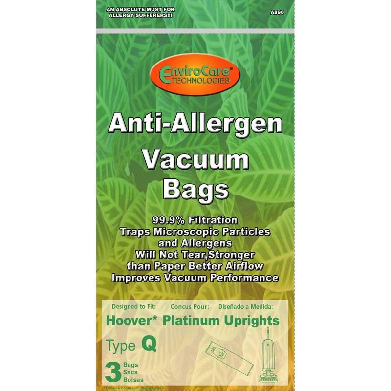Hoover Type Q Anti-Allergen Vacuum Bags - 3 pack