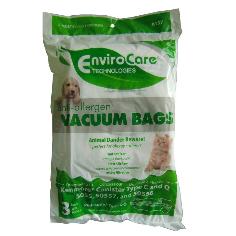 Kenmore Type C & Q 5055/50557/50558/ Panasonic Type C-5 Anti-Allergen Vacuum Bags - 3 pack