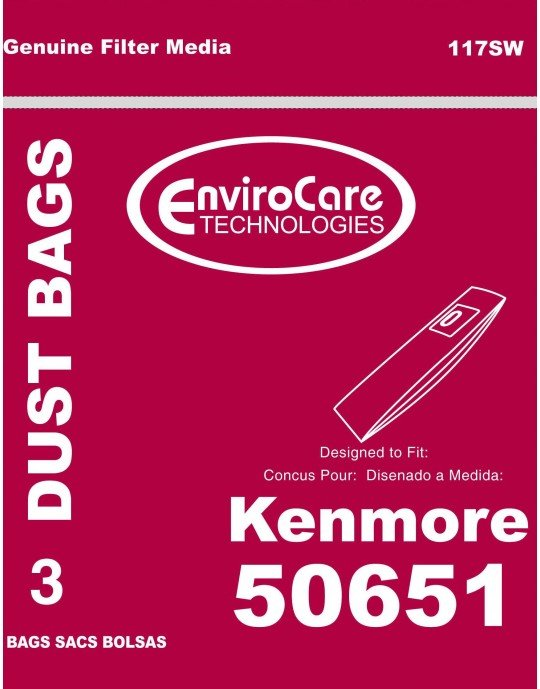 Kenmore Type 50651 Vacuum Bags - 3 pack