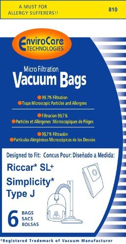 Riccar Type SL/Simplicity Type J Vacuum Bags - 6 pack