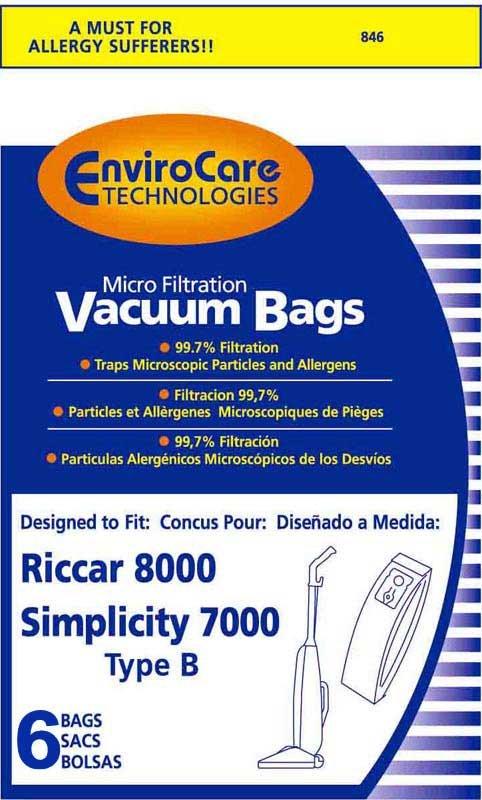 Riccar/ Simplicity Type B Vaccum Bags - 6 pack
