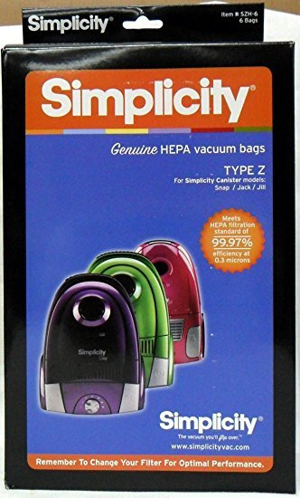 Simplicity Genuine Type Z HEPA Vacuum Bags - 6 pack
