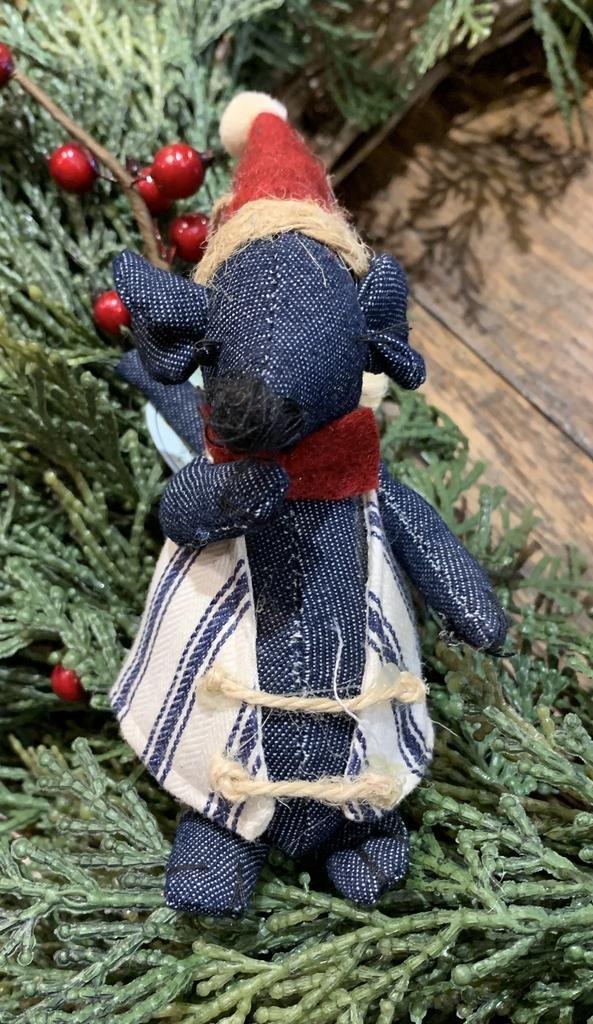 Denim Christmas Mouse Orn