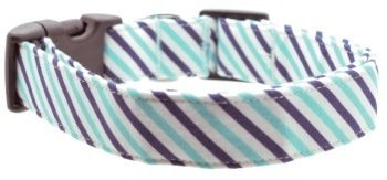 Dog Collar World - Navy Aqua Stripe