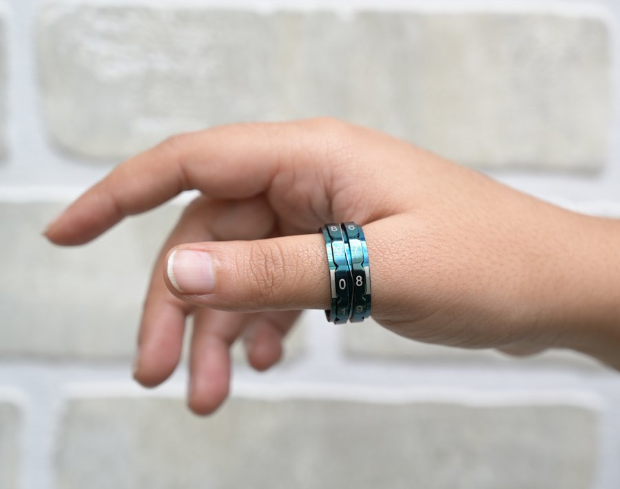 KP Mindful Collection Teal Row Count Ring