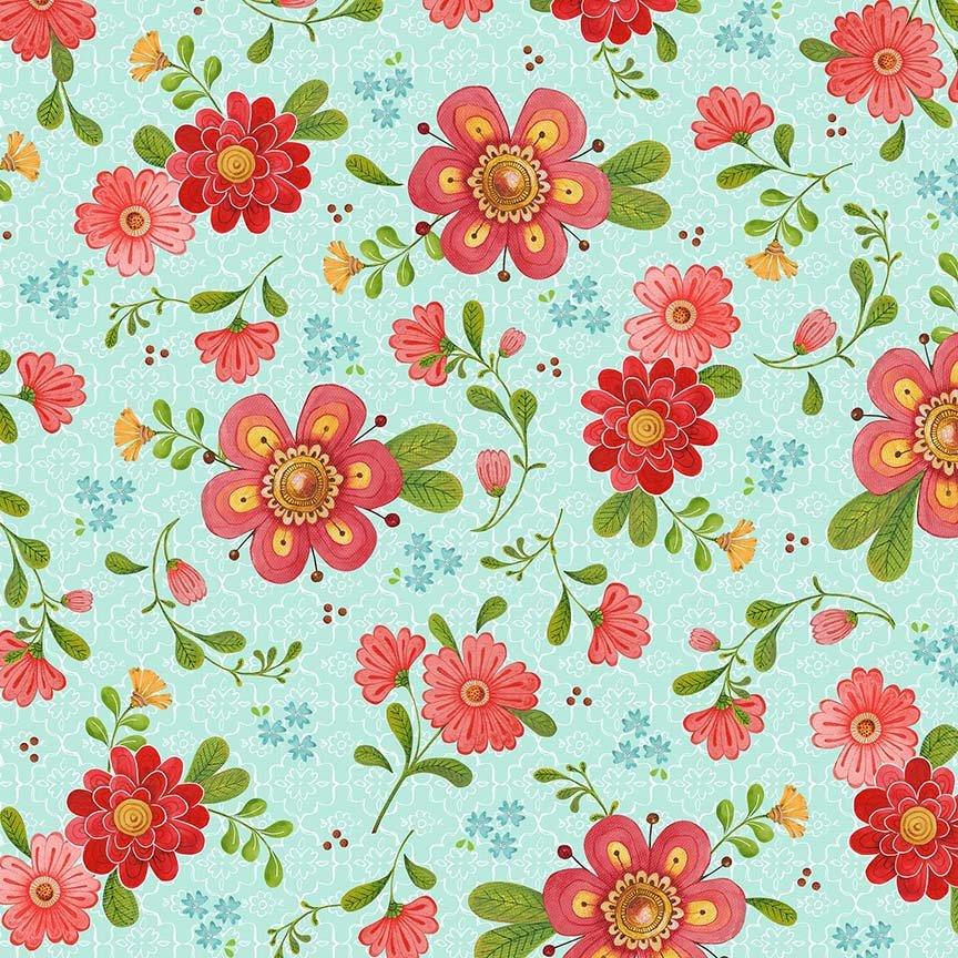 26359 Q Aqua Floral All a Flutter